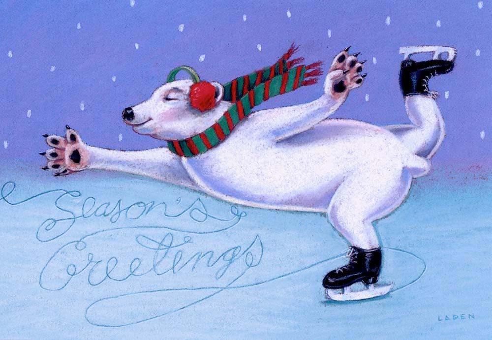 """""""Skating Polar Bear"""" card for Peaceable Kingdom"""